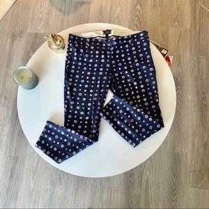 JCrew Minnie Pants | Patterned Navy Blue